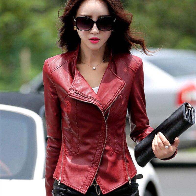 Autumn Faux Slim Red Oversized   Leather   Jacket Women Ladies Biker Moto Short Zipper Soft PU   Leather   Jackets Woman Fashion Coats