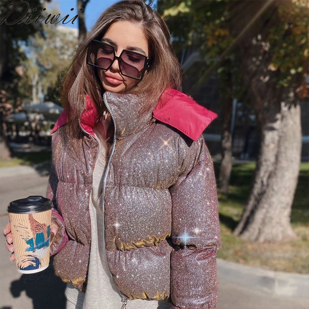 Permalink to Diiwii Women Thick Glitter Sequins Fashion Parka Winter Elegant Warm Puffer Jacket Ourwear Glowing Quilted Coats Female