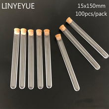 100pieces/pack 15*150mm Transparent Plastic test tube with Cork Stopper U-shape bottom Laboratory or Wedding favours Spice Tube