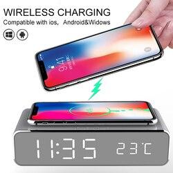 2-em-1 led despertador elétrico desktop carregador sem fio digital termômetro relógio hd espelho com memória do tempo despertador
