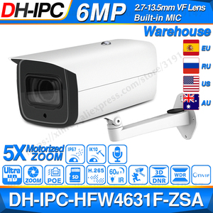 Image 1 - Dahua 6MP POE IP Camera IPC HFW4631F ZSA 2.7~13.5mm 5X Zoom VF Lens Bullet 60M IR Micro SD Card Slot Audio IP67 IK10