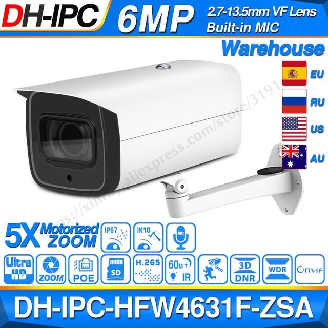 Dahua 6MP POE IP Camera IPC HFW4631F ZSA 2.7~13.5mm 5X Zoom VF Lens Bullet 60M IR Micro SD Card Slot Audio IP67 IK10