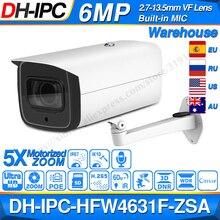 Dahua 6MP POE caméra IP IPC HFW4631F ZSA 2.7 ~ 13.5mm 5X Zoom VF lentille balle 60M IR Micro SD fente pour carte Audio IP67 IK10
