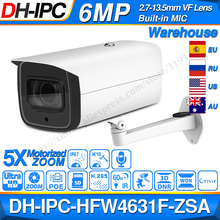 Dahua 6MP Poe Ip Camera IPC HFW4631F ZSA 2.7 ~ 13.5Mm 5X Zoom Vf Lens Bullet 60M Ir Micro Sd card Slot Audio IP67 IK10