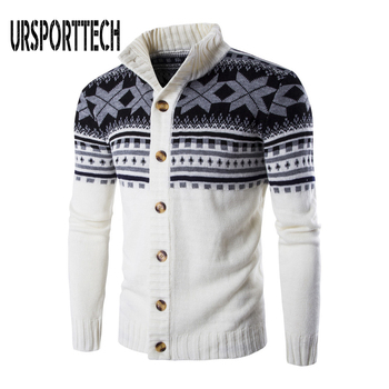 Autumn Winter Warm Christmas Sweater Men Fashion Printed Single-breasted Knit Cardigan Casual Stand Collar Mens