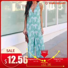 Summer Boho Print Backless Women's Jumpsuit Cross V-neck Wide Leg Sleeveless Female Rompers 2020 Spring Holiday Lady Jumpsuits(China)