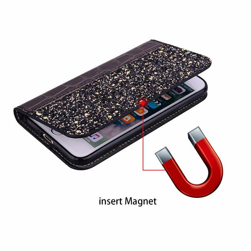 بلينغ بريق الوجه محفظة جلدية جراب هاتف على ل موتورولا موتو G7 G6 اللعب G5S E5 E4 C G5 زائد واحد الطاقة P30 ملاحظة غطاء Coque