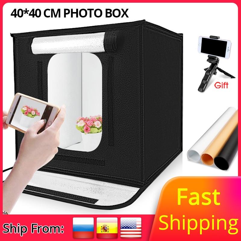 Travor 40*40/60*60cm Folding Photo Studio Softbox Lightbox LEVOU caixa de Luz de Tiro de mesa dobrável tenda photobox com dimmer