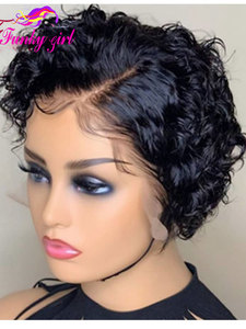 13x4 Short Curly Bob Lace Front Wigs Pixie Cut Human Hair Wigs For Black Women Brazilian Remy Hair Short Wavy 150% Glueless 15cm