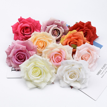 2/5/10 Pieces Christmas home decorations decorative flowers wreaths wedding scrapbook flowers wall silk roses artificial flowers image