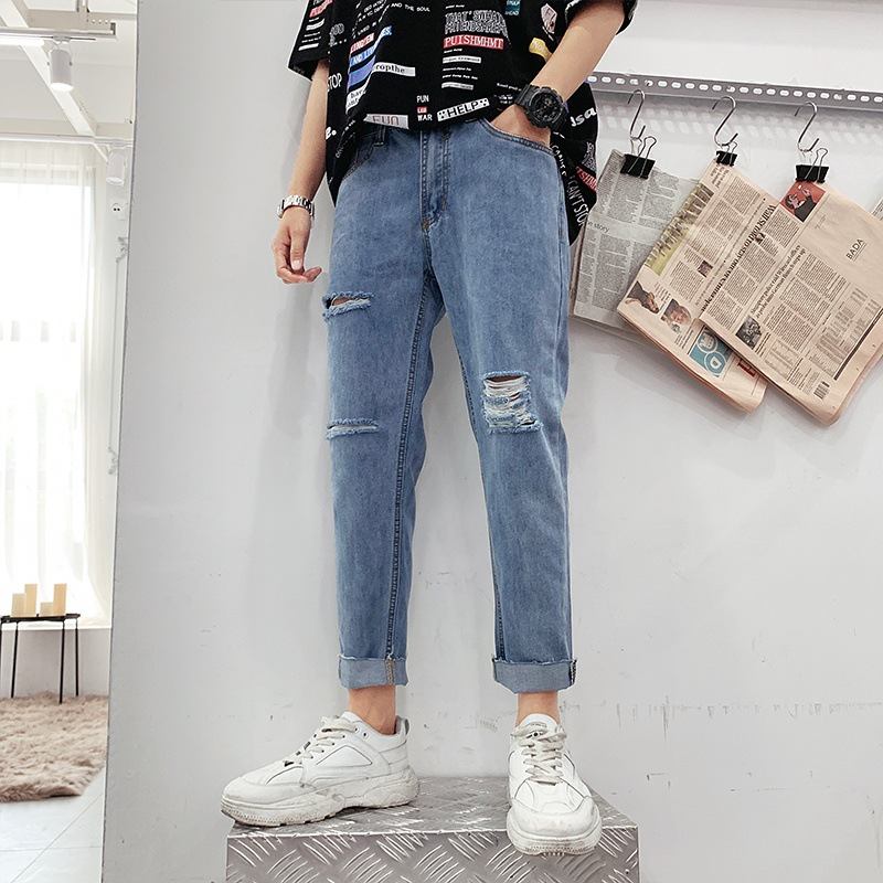Summer Thin Section Hong Kong Style BOY'S Capri Jeans Men's Popular Brand Loose Straight Pants Korean-style Trend Versatile 9 Po