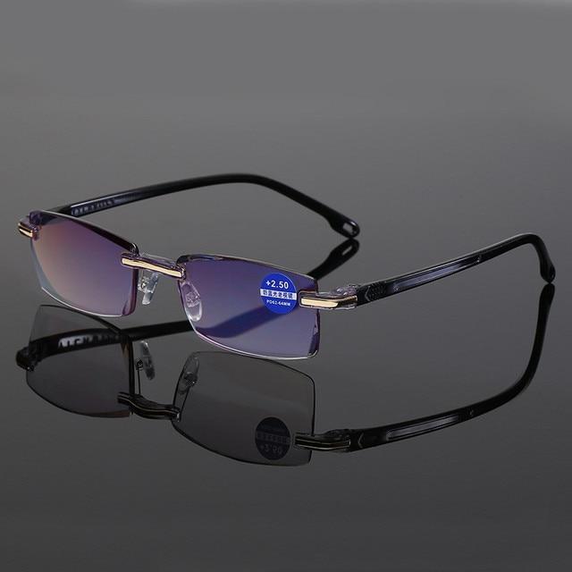 Ahora Anti Blue Light Blocking Rimless Reading Glasses Women Men Square Frameless Presbyopic Glasses Diopters +1.0 1.5 2 2.5 4.0 3