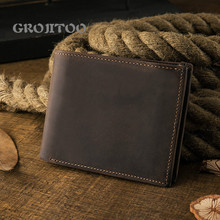 GROJITOO Handmade Crazy Horse leather men's short wallet youth cowhide wallet genuine leather large capacity men's bag