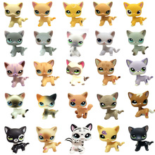 Real Rare Pet Shop lps Toys standing Short Hair Cat Black994Gray Child Original Animal Toy Gift