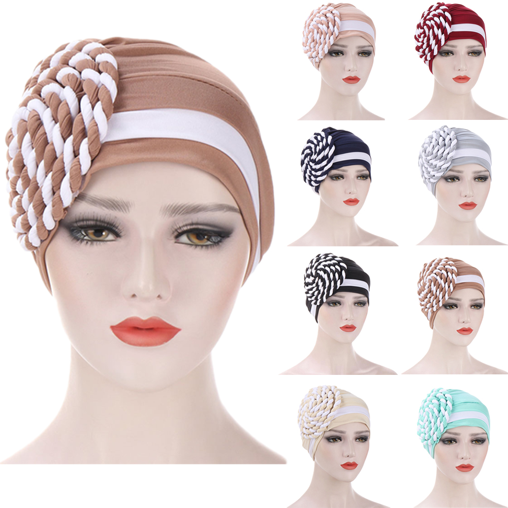 Women Muslim Islamic Hijabs Elastic Turban Head Scarf Large Braid Beanie Hat Headwear Fashion Ruffle Turban Cap Bonnet Chemo Hat