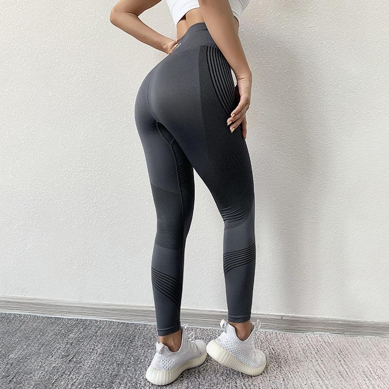 SVOKOR Women Leggings High Waist Peach Hips Gym Leggings Quick-drying Sports Stretch Fitness Pants 3