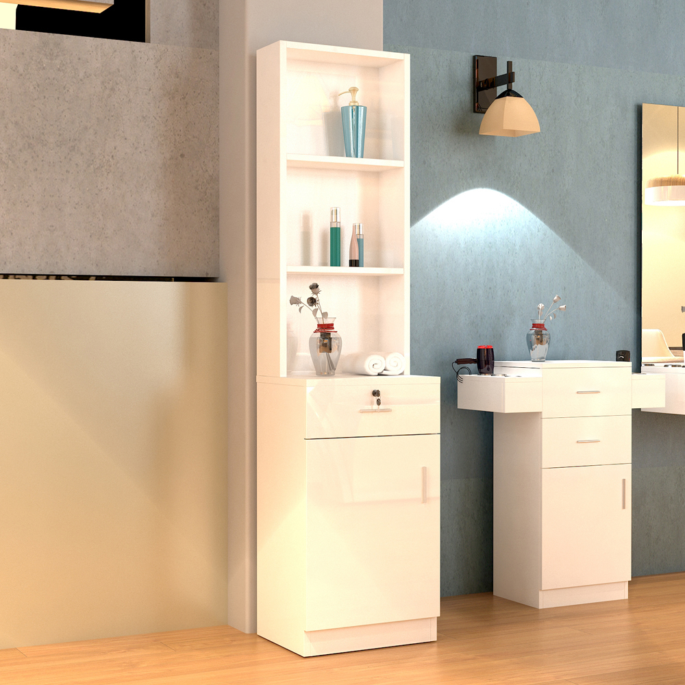 【US Warehouse】Standing 5 Compartments 1 Drawer 1 Door MDF Barber Cabinet White Beauty Salon, Barber Shop  Drop Shipping USA