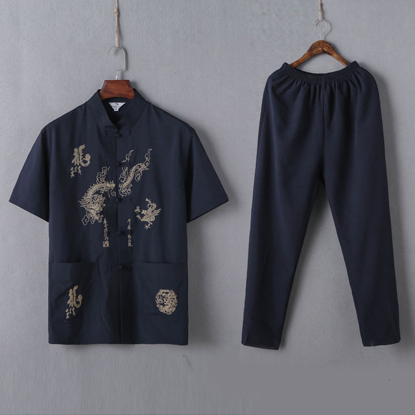 Male Chinese Traditional Costumes Set 2PCs Shirts+trousers Breathable Cotton Dragon Embroidery Men New Year Kung Fu Tang Suit