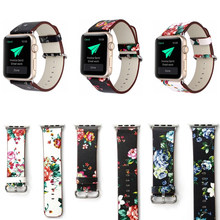 Correa de cuero impresa nacional para Apple Watch band 42mm 38mm 40mm 44mm flor reloj pulsera para iwatch serie 5/4/3/2/1(China)