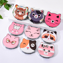 Vicney 2019 New Fashion Cat Element Cute Cartoon Double Side Mirror Pocket Girls Mini Make Up Beauty