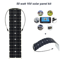 все цены на Boguang 50w solar panel with 12v 10A controller MC4 connector module Monocrystalline silicon cell solar panels battery DIY kit онлайн