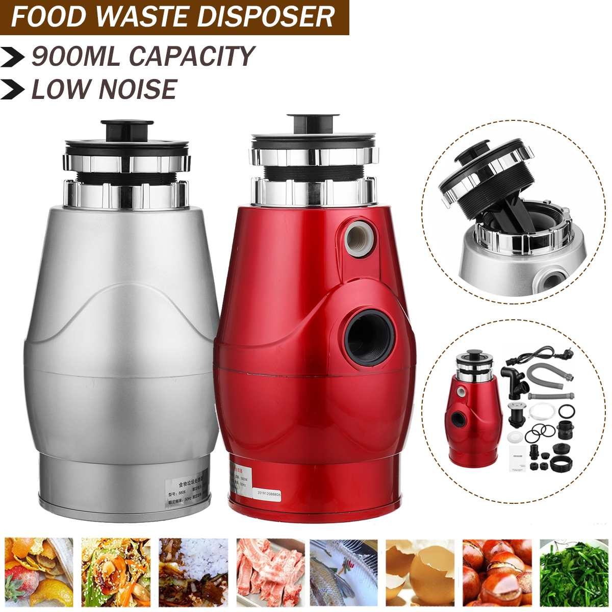 Kitchen food garbage processor disposal crusher food waste disposer Stainless steel Grinder material kitchen sink appliance
