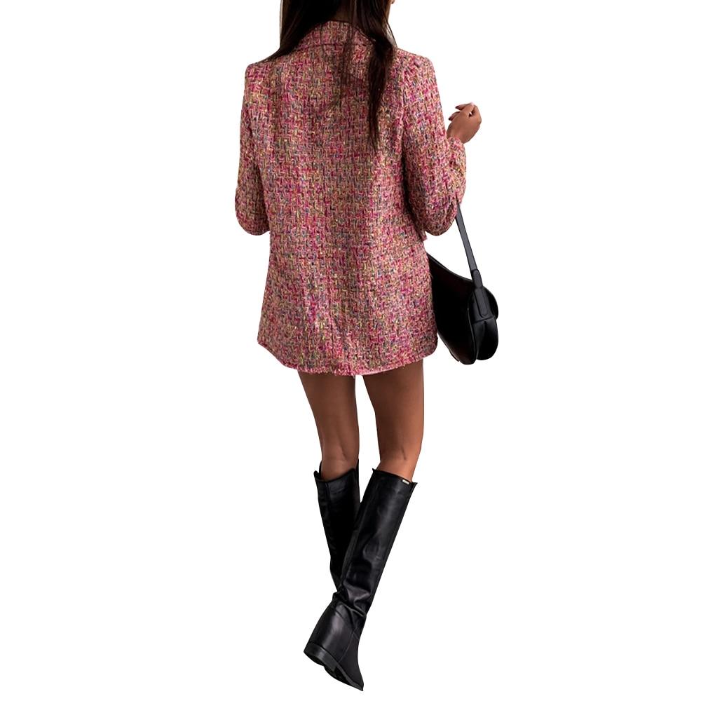 Blazer Women Elegant Double Breasted Jacket Women Fragrance Blazer feminino Winter Office Lady Blazer Jacket chaqueta mujer D25