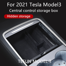 Tesla Model3 Car Central Armrest Storage Box For Tesla Model 3 2021 Accessories Center Console Flocking Organizer Containers New