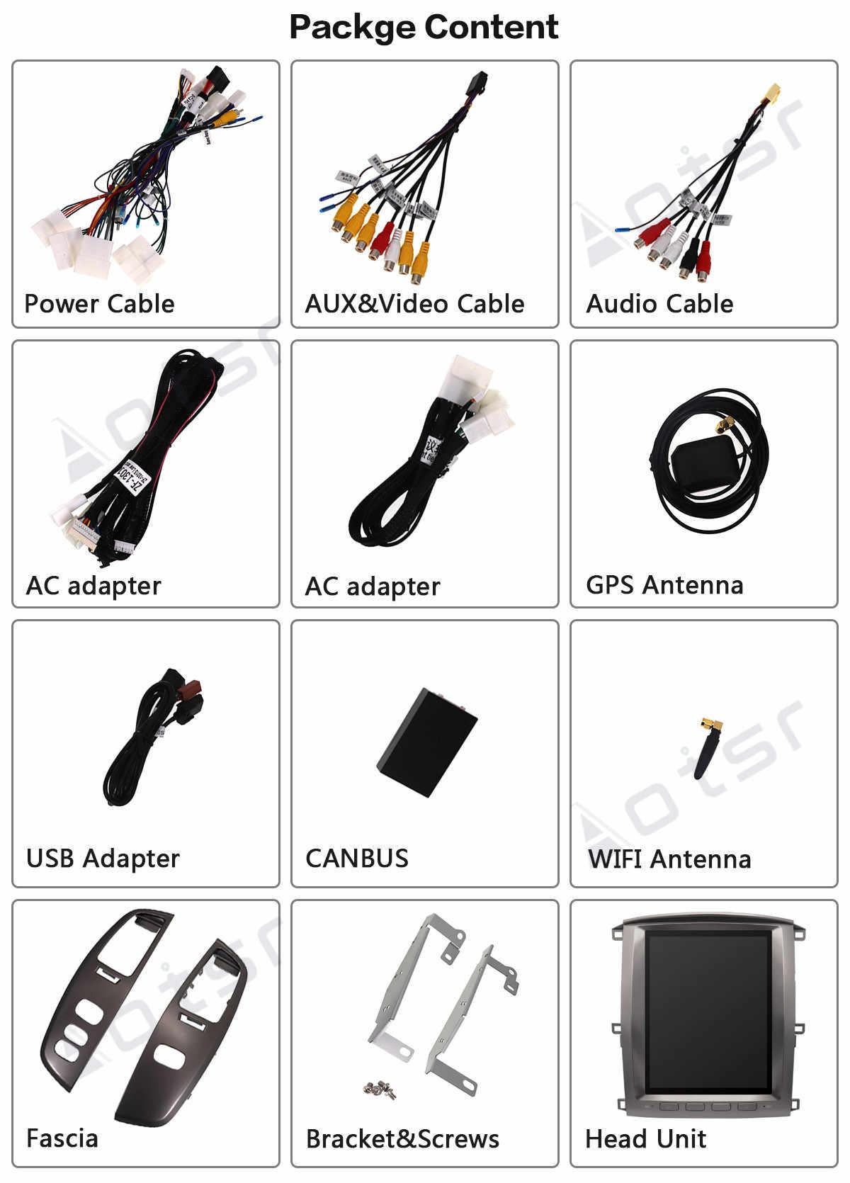 AOTSR Tesla สไตล์ Android 9 รถวิทยุสำหรับ Lexus LX470 2002 - 2007 GPS Navigation PX6 เครื่องเล่นมัลติมีเดีย DSP CarPlay IPS Autoradio