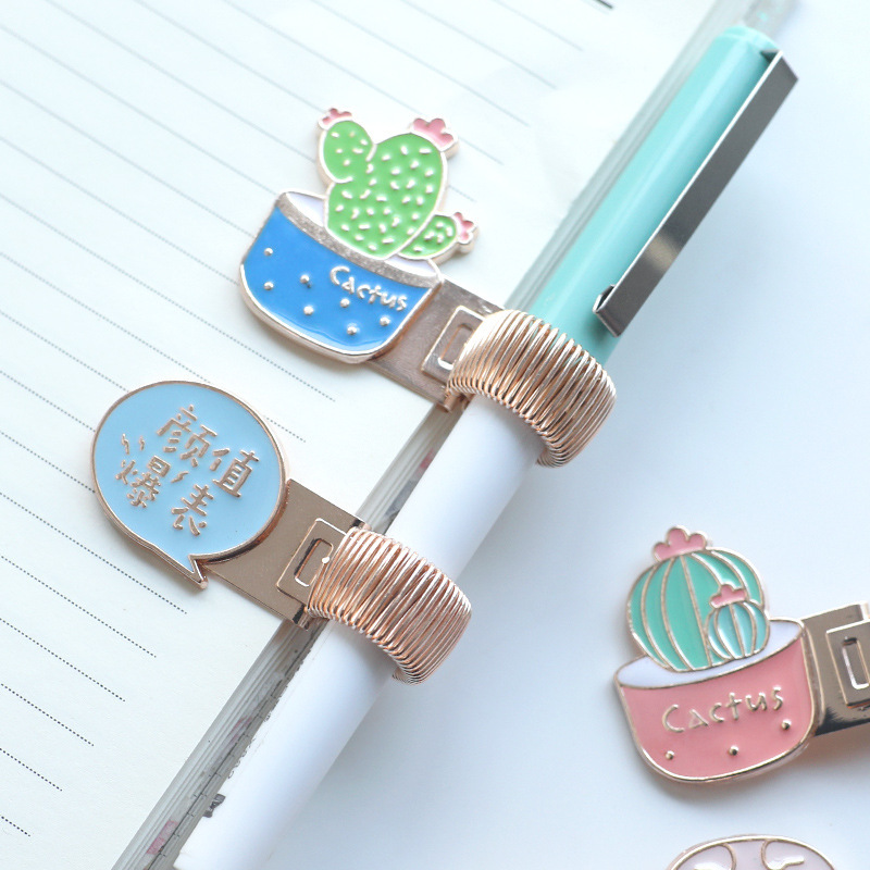 1piece Cherry Unicorn Metal Pen Holder Book Clip Metal Springs Are Retractable Creative Stationery Delicate Gift Random Color