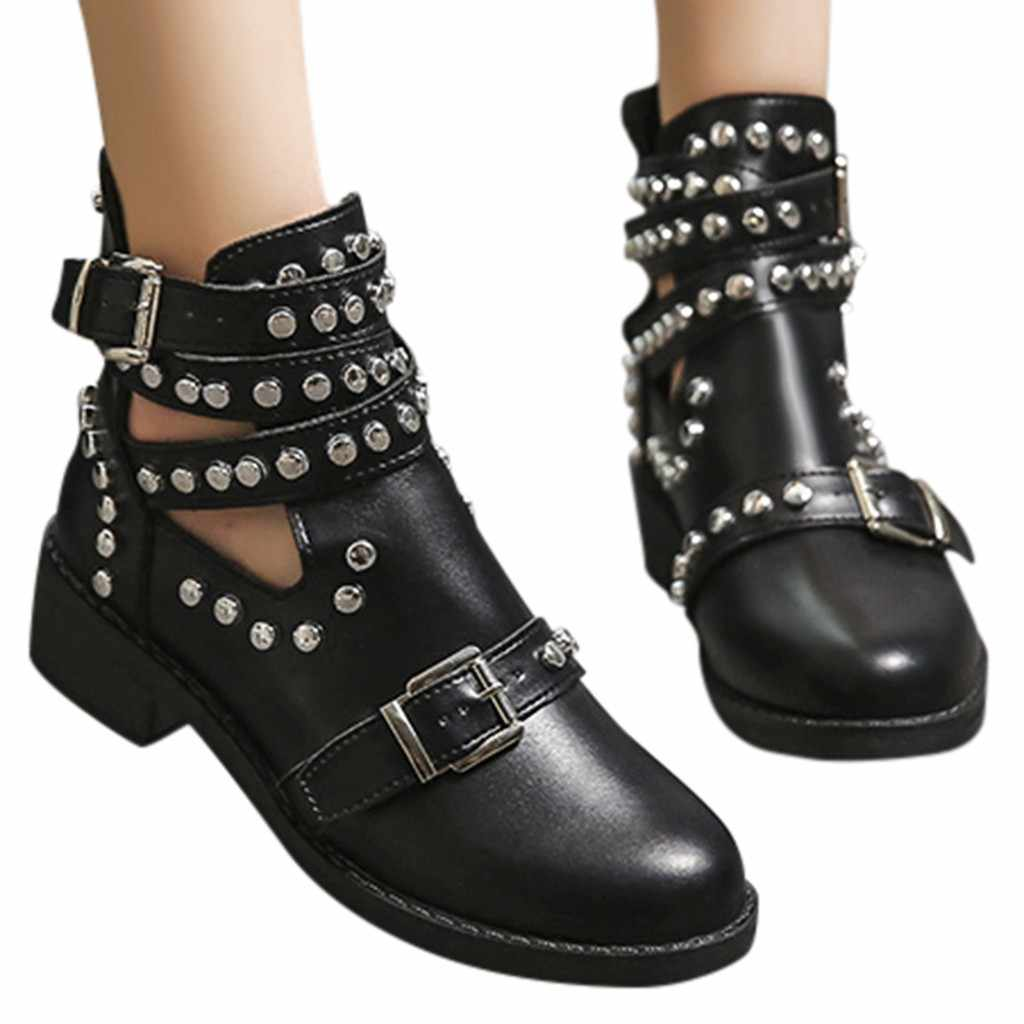 xiniu Boot Women Fashion Rivet Belt Buckle ankle boots for women Boot Student Casual Shoes Women 2019 Large Size Single Shoes