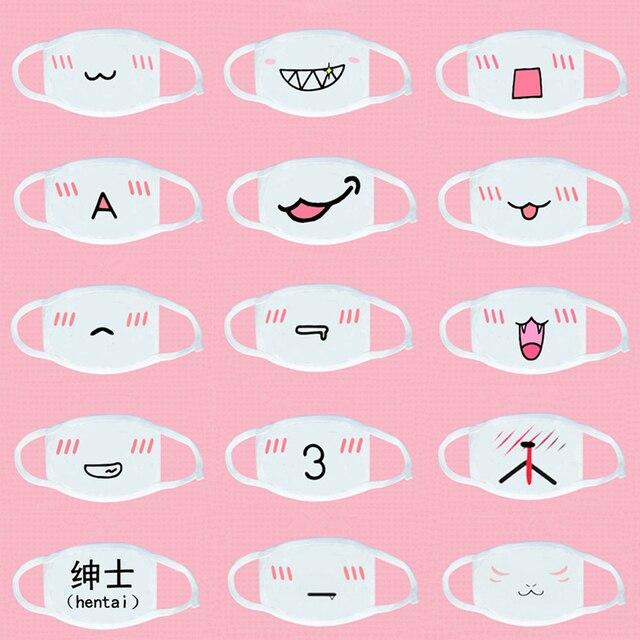 20 sztuk KPOP Cute Cartoon wyraz usta maska Respirator Unisex bawełna maska śmieszne zimowe maseczki do twarzy k pop Kawaii