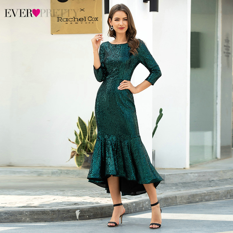 Elegant Dark Green Evening Dresses Long Ever Pretty Draped 3/4 Sleeve Sequined Ruched Sparkle Evening Gowns Abiye Gece Elbisesi