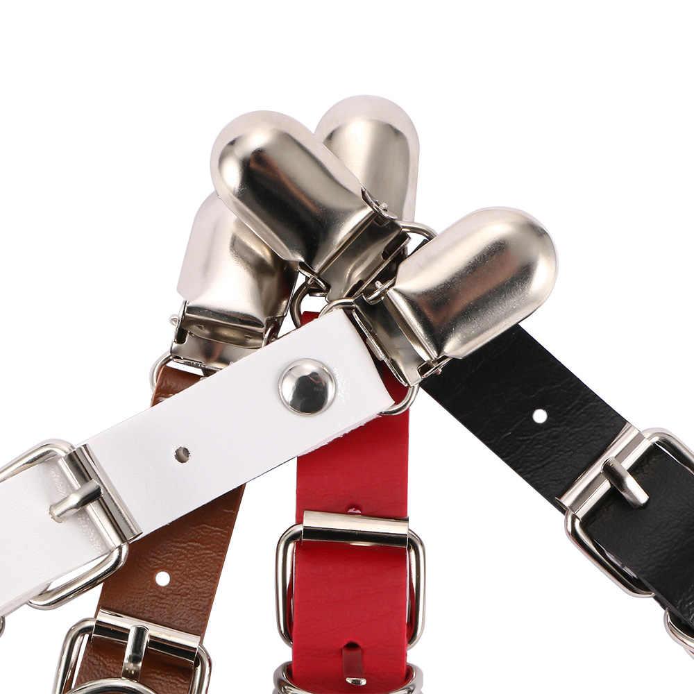 1 คู่เซ็กซี่ผู้หญิง Garters ยืดหยุ่นหนังขาแหวน Garter เข็มขัด Punk ต้นขาเข็มขัด Suspender คลิปหนังสายรัดถุงน่อง