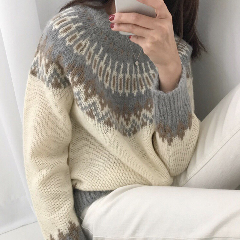 Argyle Sweater Women Thicken Vintage Autumn Winter Jumpers Long Sleeve Pullover Jacket Knitted Harajuku Korean Christmas V810