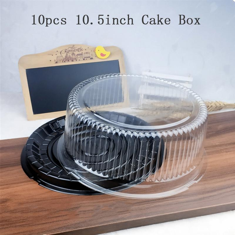 10pcs 10.5 Inch Transparent Cake Box Plastic Cake Boxes And Packaging Transparent Clear Cupcake Muffin Dome Holder Cases Wedding