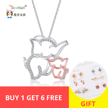 StrollGirl 100%925 Sterling Silver Cute Elephant Mom and Baby Pendant Necklace with White CZ Women Fashion Jewelry Free Shipping