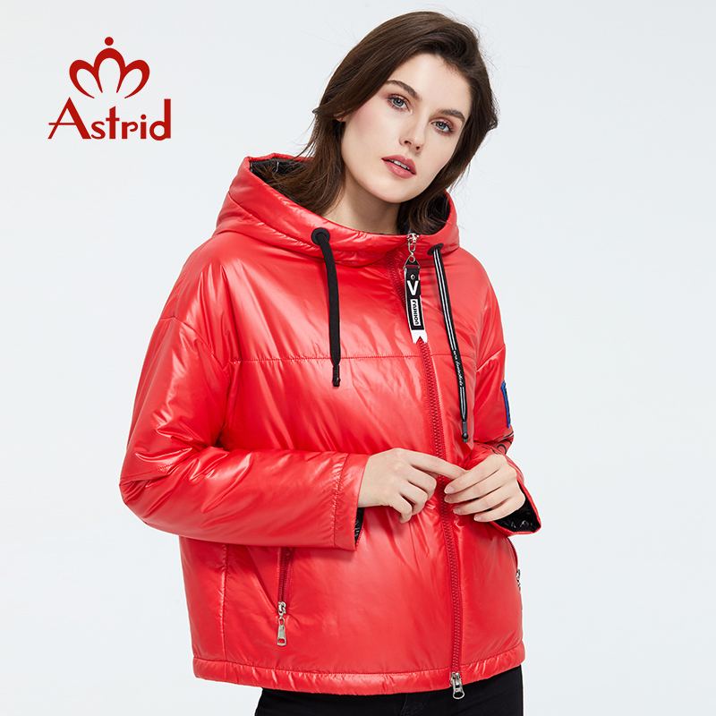 Astrid 2020 Spring  Women Parka  With Cap Design Thin Cotton Casual Outerwear High Quality  Short Clothing Bright Color ZM-3083