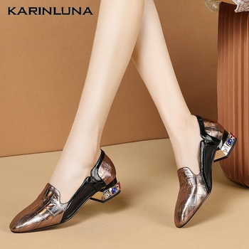 Karinluna Brand New Elegant Chunky Heels Crystals Office Lady Genuine Leather Cow Skin Women Shoes Pumps