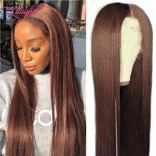Парик прямой на сетке 2 #4 #, парики из коричневых человеческих волос для женщин, предварительно выщипанные с детскими волосами, T-образные, HD п...