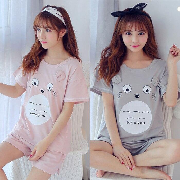 Pajama Sets For Women 2 Pcs Short Sleeve And Trousers Comfort Pyjamas Loose Female Pijama Casual Nightwear Summer Sleepwear
