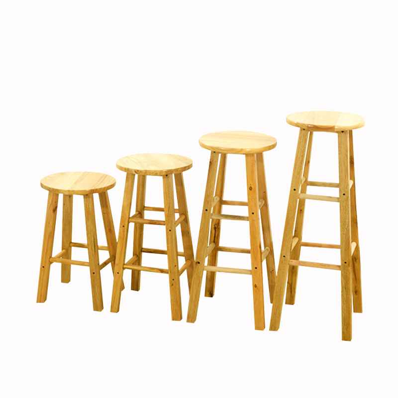 Solid Wood Bar Stool High Bar Chair High Stool Bar Stool Rubber Wooden Ladder Stool High Bar Chair
