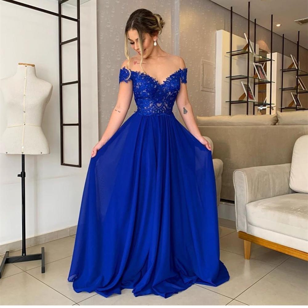 Blue Evening Dress 2020 A-Line Off Shoulder Lace Appliques Floor Length Women Formal Gowns Special Occasion Chiffon Elegant