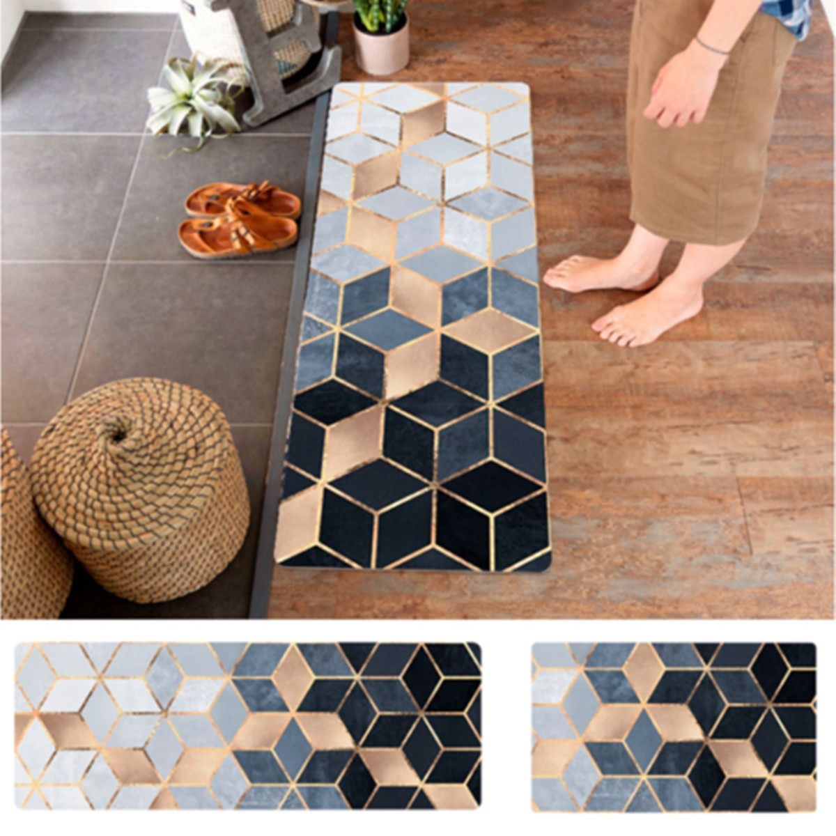 Nordic Geometric Carpets PVC Leather Floor Mats Large Floor Carpets Doormats Bedroom Tatami Waterproof Oilproof Kitchen Rugs