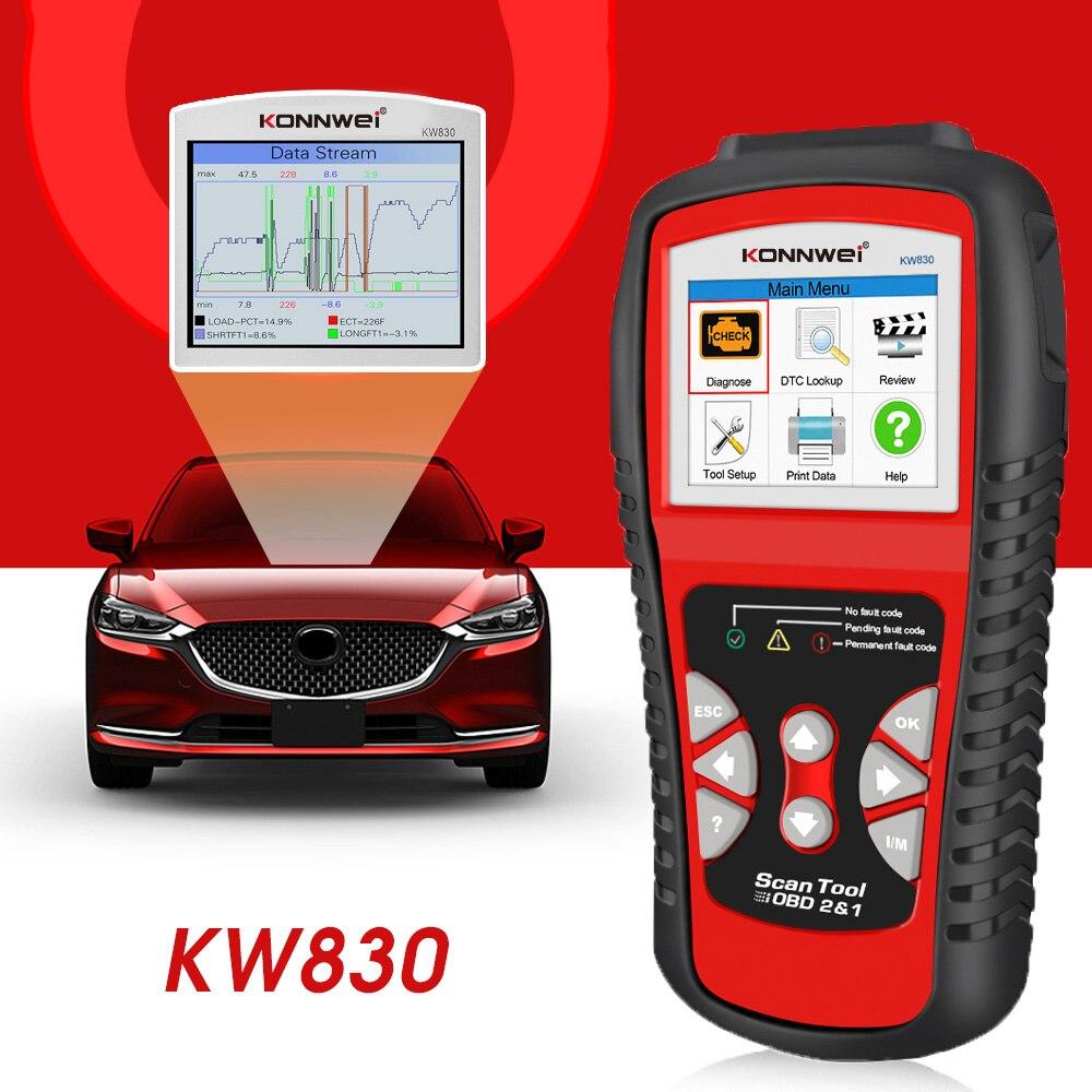 KONNWEI KW830 OBD2 OBD2 Universal Car Diagnostic Tool for Petrol Diesel Hybrid Vehicles Engine Check Free Update Online Scanner
