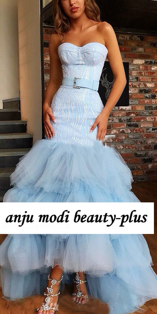 2020 Light Blue Beaded Mermaid Prom Dresses Long Strapless Tiered Formal Evening Party Gowns Robe De Soiree