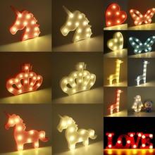 31.5*19.5*3.5cm 3D Cartoon Night Light LED Unicorn/Crown/Heart/Butterfly/Giraffe/Penguin/Love Table Lamp Decoration Gift D35