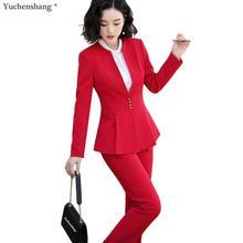 Ruffle Pant Suit Women Elegant S-5XL Office Lady OL Black Re