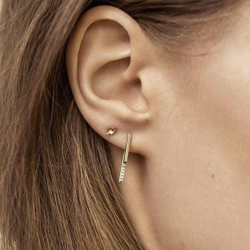 Nowy projekt długi łańcuszek Ear Cuff Set biżuteria akcesoria dla kobiet mała błyskawica w kształcie litery C nausznice męskie złote ucho Brincos