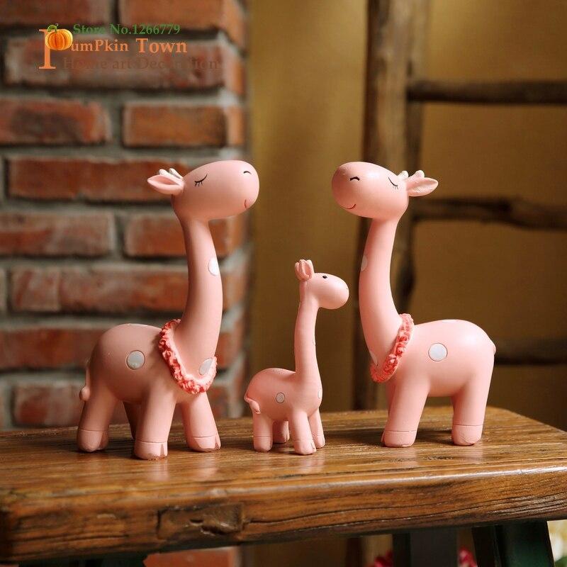 2019 offre spéciale nouvelle famille chaude série rose mignon long cerf famille de trois, ornements de résine de haute qualité de style dessin animé, comme cadeau